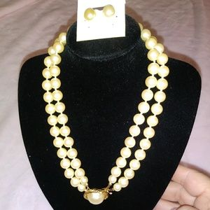 Carolee Vintage Pearl Necklace and Earrings